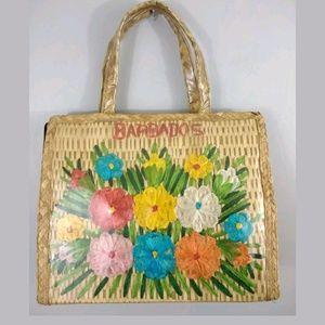 vintage 1960's Barbados plastic over straw handbag